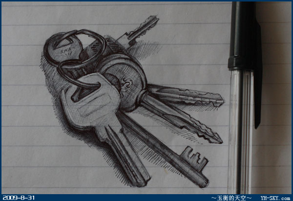 钥匙素描结构图片大全